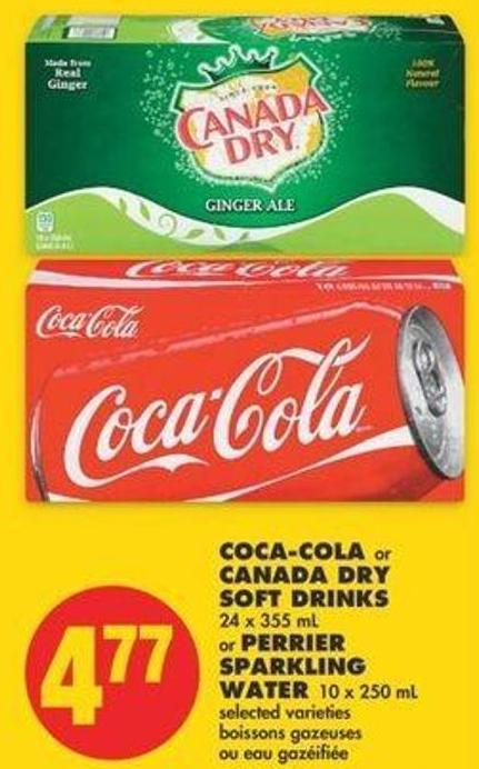 Coca-cola Or Canada Dry Soft Drinks - 18 X 355 Ml Or Perrier Sparkling Water - 10 X 250 Ml