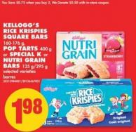 Kellogg's Rice Krispies Square Bars - 160-176 g - Pop Tarts - 400 g or Special K or Nutri Grain Bars - 125 G/295 g