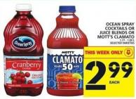 Ocean Spray Cocktails Or Juice Blends Or Mott's Clamato