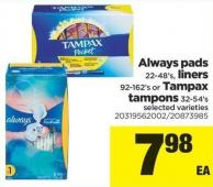 Always Pads 22-48's - Liners 92-162's Or Tampax Tampons 32-54's