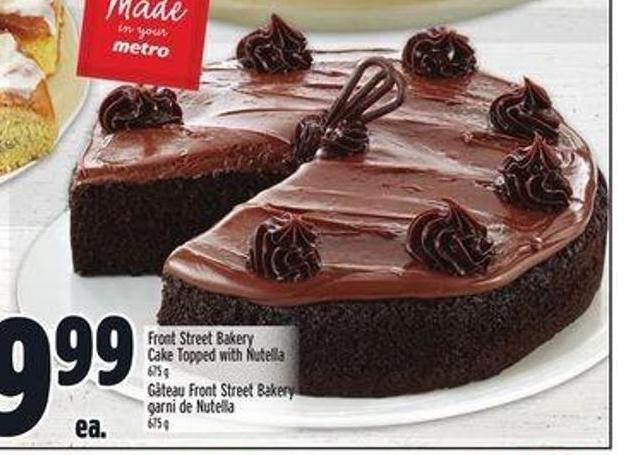 Front Street Bakery Cake Topped With Nutella