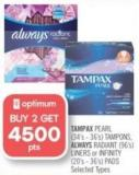 Tampax Pearl (34's - 36's) Tampons - Always Radiant (96's) Liners or Infinity (20's - 36's) Pads