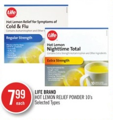 LIFE BRAND HOT LEMON RELIEF POWDER 10's