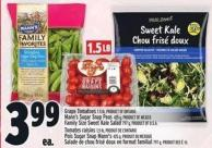 Grape Tomatoes 1.5 Lb - Mann's Sugar Snap Peas 425 G - Family Size Sweet Kale Salad 797 G
