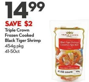 Triple Crown  Frozen Cooked  Black Tiger Shrimp 454g Pkg 41-50ct