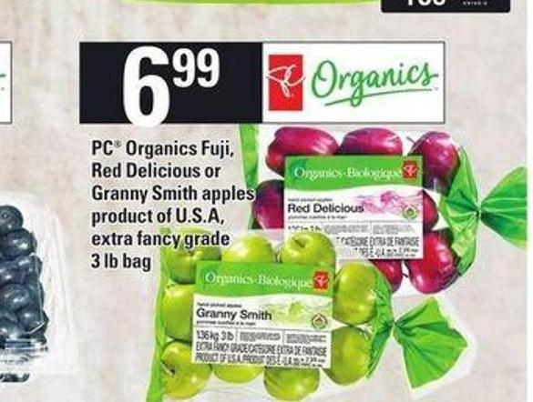 PC Organics Fuji - Red Delicious Or Granny Smith Apples - 3 Lb Bag