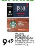 Folgers 1850 Coffee or Starbucks Coffee K-cup Pods
