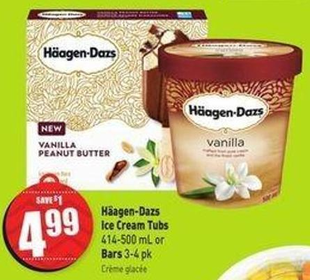 Häagen-dazs Ice Cream Tubs 414-500 mL or Bars 3-4 Pk