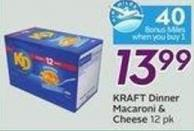 Kraft Dinner Macaroni & Cheese 12 Pk - 40 Air Miles Bonus Miles