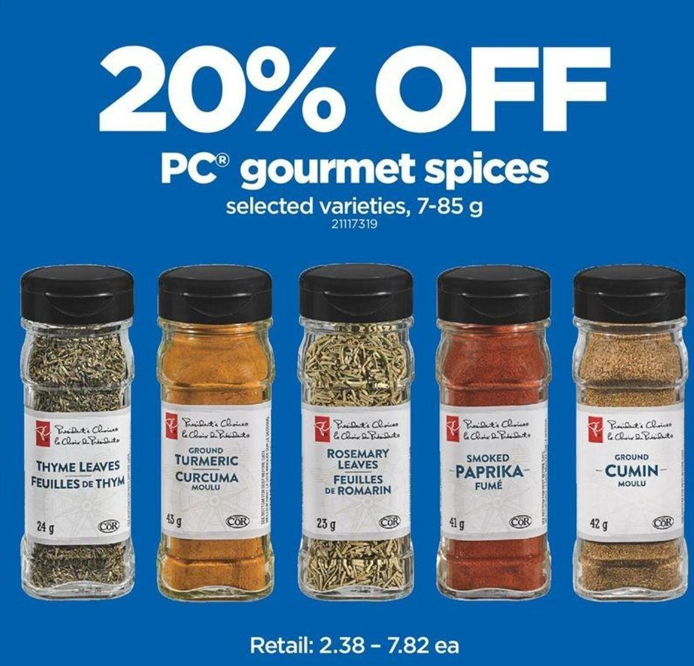 20% Off PC Gourmet Spices - 7-85 G