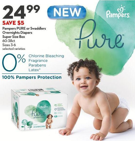 Pampers Pure or Swaddlers  Overnights Diapers Super Size Box 60-38ct Sizes 3-6