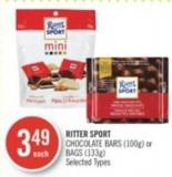 Ritter Sport Chocolate Bars (100g) or Bags (133g)