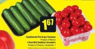 Compliments Pint Grape Tomatoes Product of Mexico 6 Pack Mini Seedless Cucumbers Product of Ontario - Canada No. 1