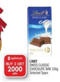 Lindt Swiss Classic Chocolate Bar 100g