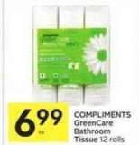 Compliments Greencare Bathroom Tissue