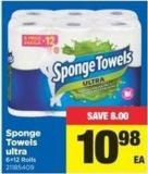 Sponge Towels Ultra - 6=12 Rolls