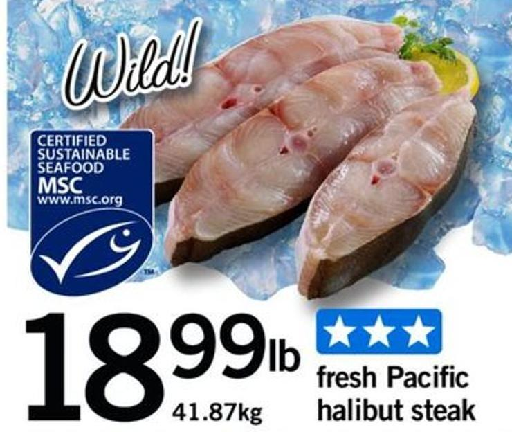 Fresh Pacific Halibut Steak - 41.87kg
