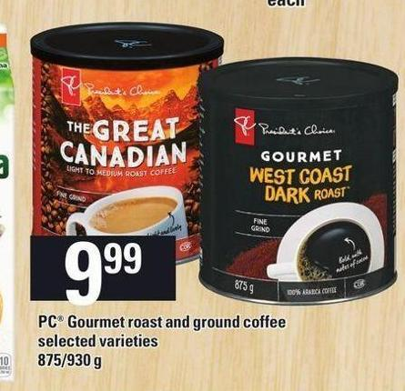 PC Gourmet Roast And Ground Coffee 875/930 g