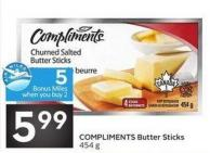 Compliments Butter Sticks 454 g - 5 Air Miles Bonus Miles