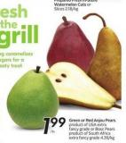 Green or Red Anjou Pears F USA Extra Fancy Grade or Bosc Pears Product of South Africa Extra Fancy Grade