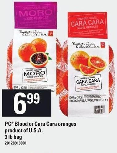 PC Blood Or Cara Cara Oranges - 3 Lb Bag