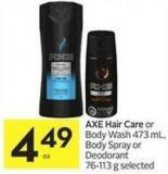 Axe Hair Care or Body Wash 473 mL - Body Spray or Deodorant 76-113 g Selected