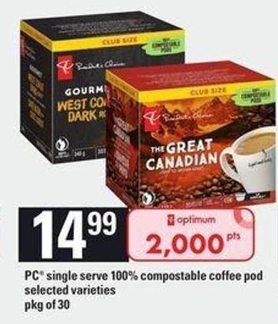 PC Single Serve 100% Compostable Coffee Pod - Pkg of 30