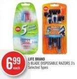 Life Brand 5 Blade Disposable Razors 3's