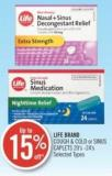 Life Brand Cough & Cold or Sinus Caplets 20's - 24' s