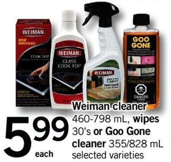 Weiman Cleaner 460-798 Ml - Wipes 30's Or Goo Gone Cleaner 355/828 Ml