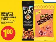 Hershey's Snack Mix or Crunchers Tubes - 4's
