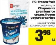 PC Frozen Fruit - 400/600 G Or Chapman's Premium Ice Cream - Frozen Yogurt Or Sorbet - 2 L