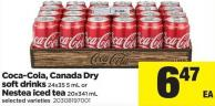 Coca-cola - Canada Dry Soft Drinks - 24x35 5 mL Or Nestea Iced Tea - 20x341 mL
