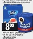 Maxwell House Ground Coffee 631-925 G Or Tetley Tea 216's