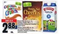 General Mills Cereal 300 - 450 G Lactantia Purfiltre Milk 1.5 - 2 L Irresistibles Refrigerated Smoothies 1.65 L