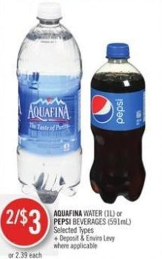Aquafina Water (1l) or Pepsi Beverages (591ml)