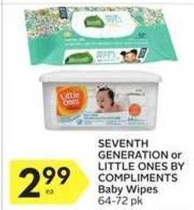 Seventh Generation or Little Ones By Compliments Baby Wipes
