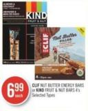 Clif Nut Butter Energy Bars or Kind Fruit & Nut Bars 4's