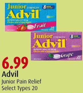 Advil Junior Pain Relief Select Types 20