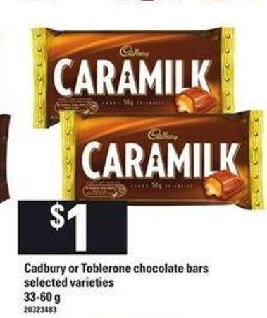 Cadbury Or Toblerone Chocolate Bars.33-60 g