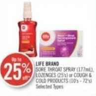 Life Brand Sore Throat Spray (177ml) - Lozenges (25's) or Cough & Cold Products (10's - 72's)