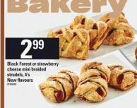 Black Forest Or Strawberry Cheese Mini Braided Strudels - 4's
