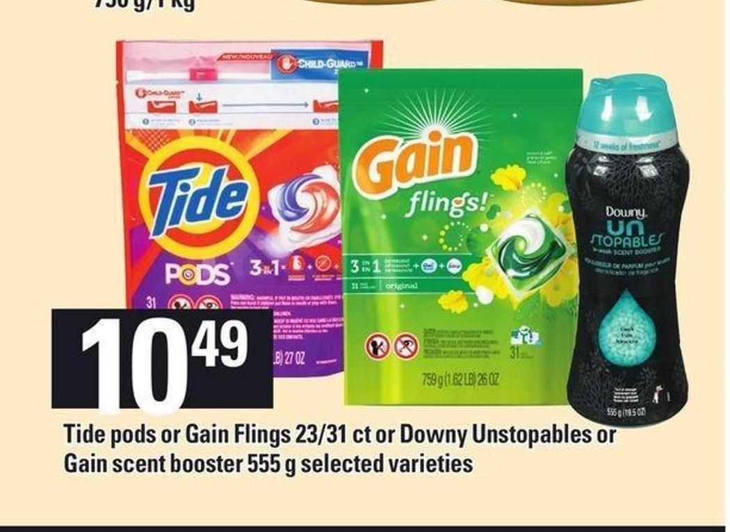 Tide PODS Or Gain Flings 23/31 Ct Or Downy Unstopables Or Gain Scent Booster 555