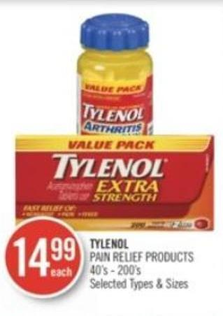Tylenol Pain Relief Products 40's - 200's