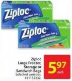 Ziploc Large Freezer - Storage or Sandwich Bags