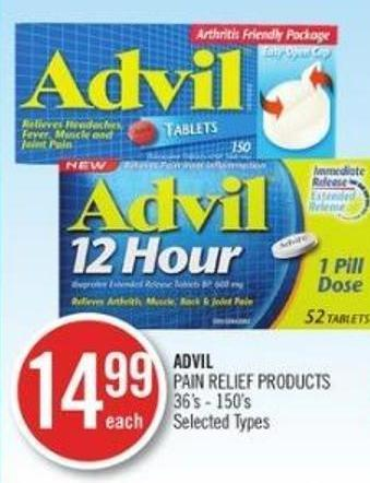 Advil Pain Relief Products 36's - 150's
