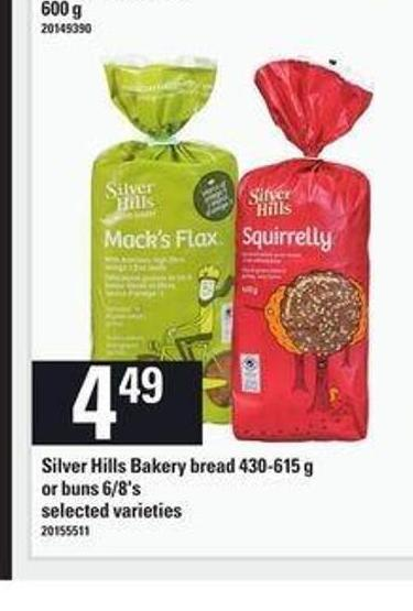 Silver Hills Bakery Bread - 430-615 G Or Buns - 6/8's