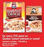 Quaker Instant Oatmeal or Cereal - 138-600 g