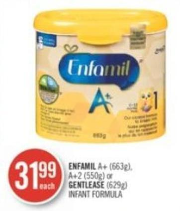 Enfamil A+ (663g) - A+2 (550g) or Gentlease (629g) Infant Formula