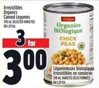Irresistibles Organics Canned Legumes